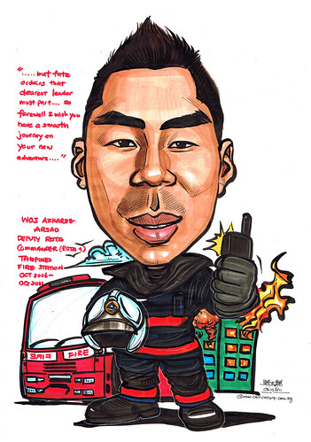 Fireman Supervisor caricature for Tampines Fire Station
