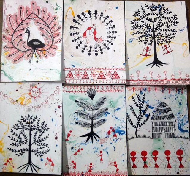 Warli art inspired greeting cards