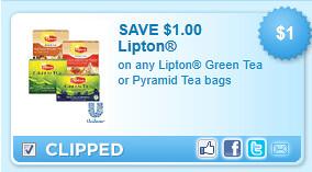 Lipton Green Tea Or Pyramid Tea Bags Coupon