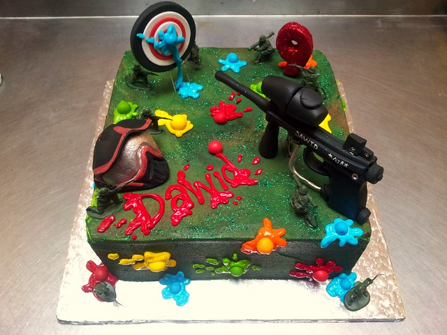 Soccer Ball Cake Design : Square Wicked Chocolate Ultimate Paintball themed cake ...