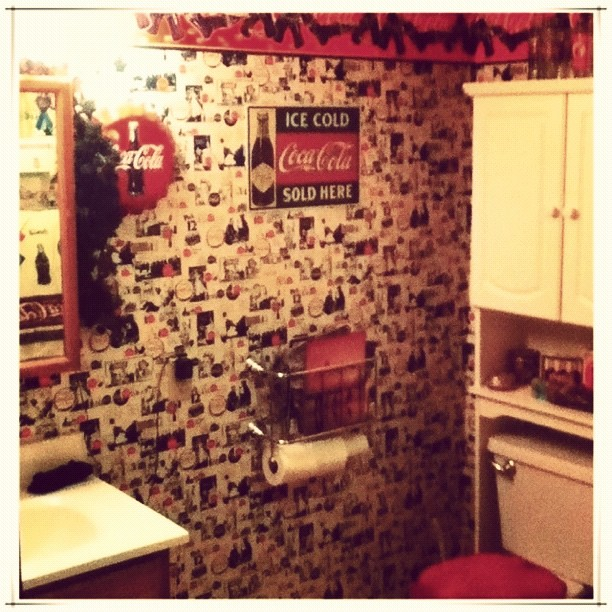 Yes it 39 s a coca cola themed bathroom home bathroom - Bathroom coca cola shower curtain ...