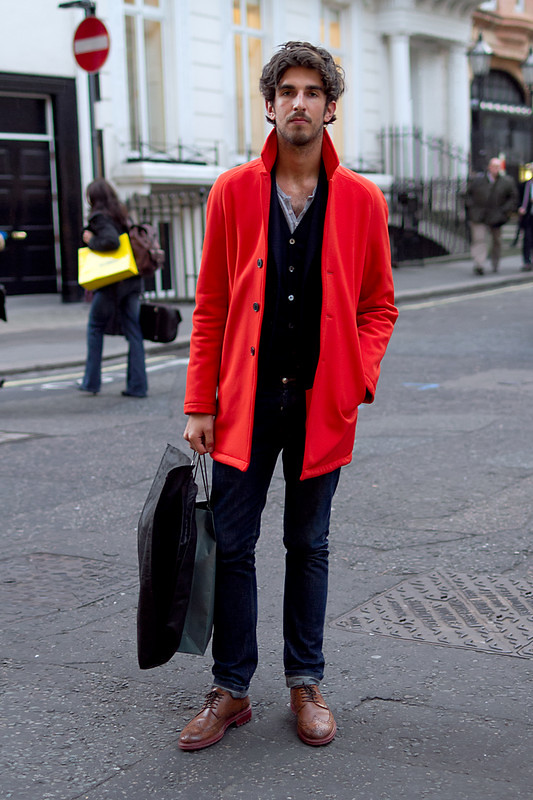 GARCON MENS STYLE FASHION BLOG BRIGHT RED COAT DENIM STREET STYLE OXFORDS Coggles.com - Men's Street Style London