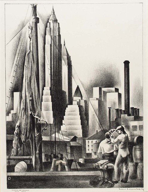 Louis Lozowick, Open Air Barber (1939)