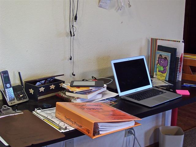 messy school room desk
