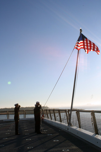 First Rendition of Morning Colors on board USS San Diego