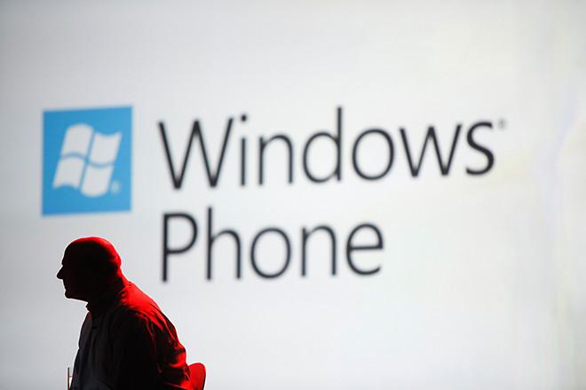 Steve Ballmer and Windows Phone logo