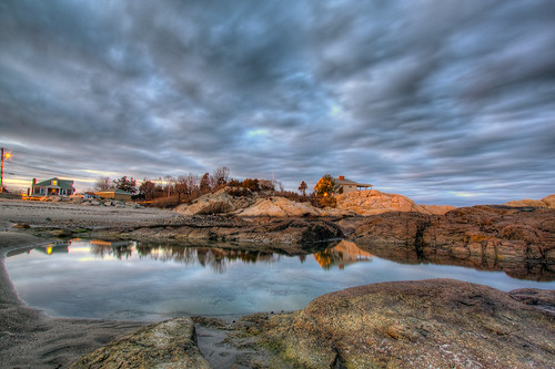 sunset reflection rock clouds hdr scituate
