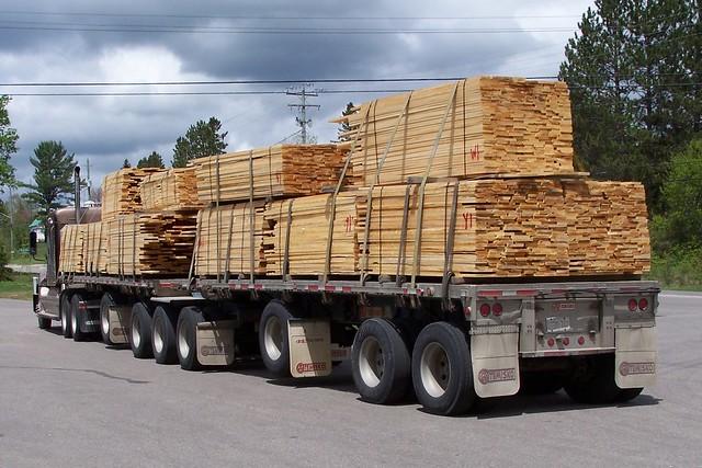 Reghold corporation 187 freightliner lumber truck with temisko b train