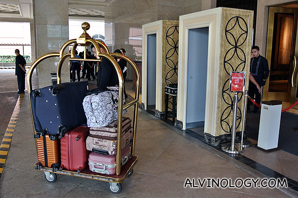 Luggage all stacked and ready to go