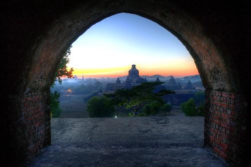sunset temple ruins dusk buddha burma bricks buddhism myanmar hdr mrauku nikond3s shitthuangtemple