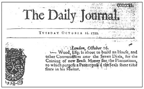 William Wood 1722 article