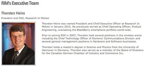 Thorsten Heins RIM's New President and CEO