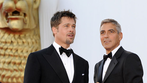 Brad Pitt and George Clooney in tuxedos