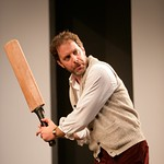 """Henry (Rufus Collins) believes good writing is like a good cricket bat  in the Huntington Theatre Company's production of """"The Real Thing,"""" part of the 2005-2006 season. Photo by T. Charles Erickson."""