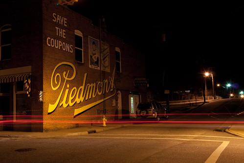 street nc downtown northcarolina advertisement lighttrails nightscene tobacco lincolnton baseballcard lincolncounty piedmontcigarettes 10for5 davidhopkinsphotography newoldsign
