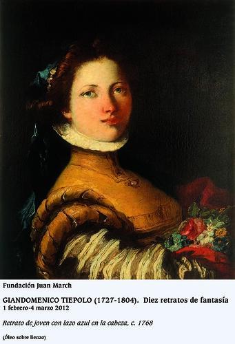 Retrato de joven con lazo azul en la cabeza c.1768