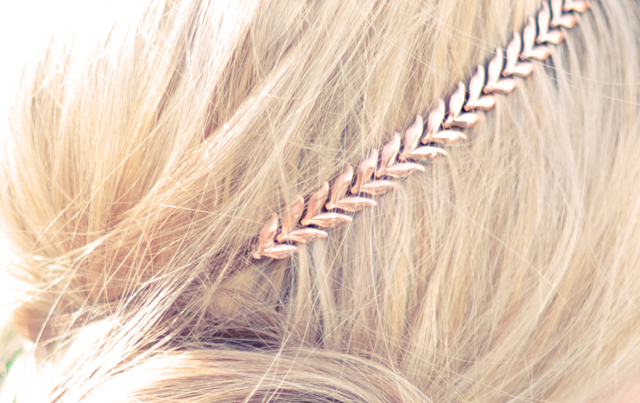 rose gold chevron leaf necklace - headband DIY