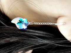 glass leaf & faceted aqua blossoms, silver clip-on spring hoop earrings (7lx no. 17)