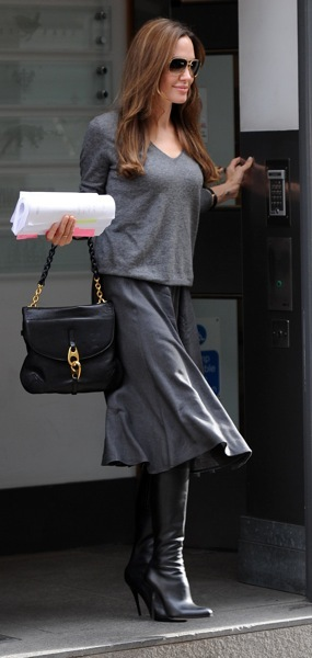 Angelina Jolie Wears Knee High Boots