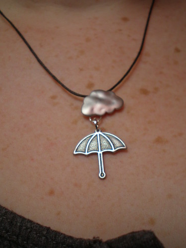 Cloud and umbrella necklace