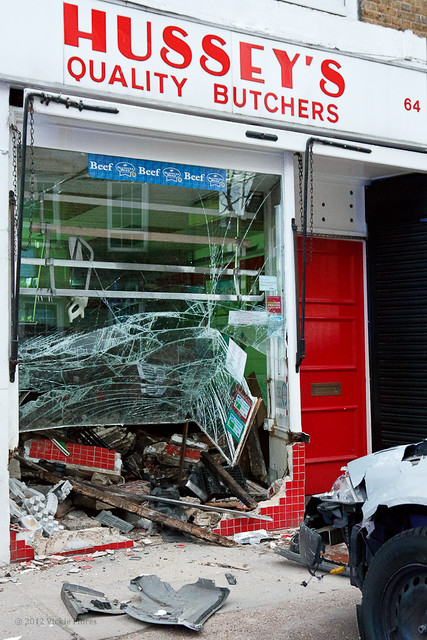 Hussey's Butcher shop hit by car in ice accident