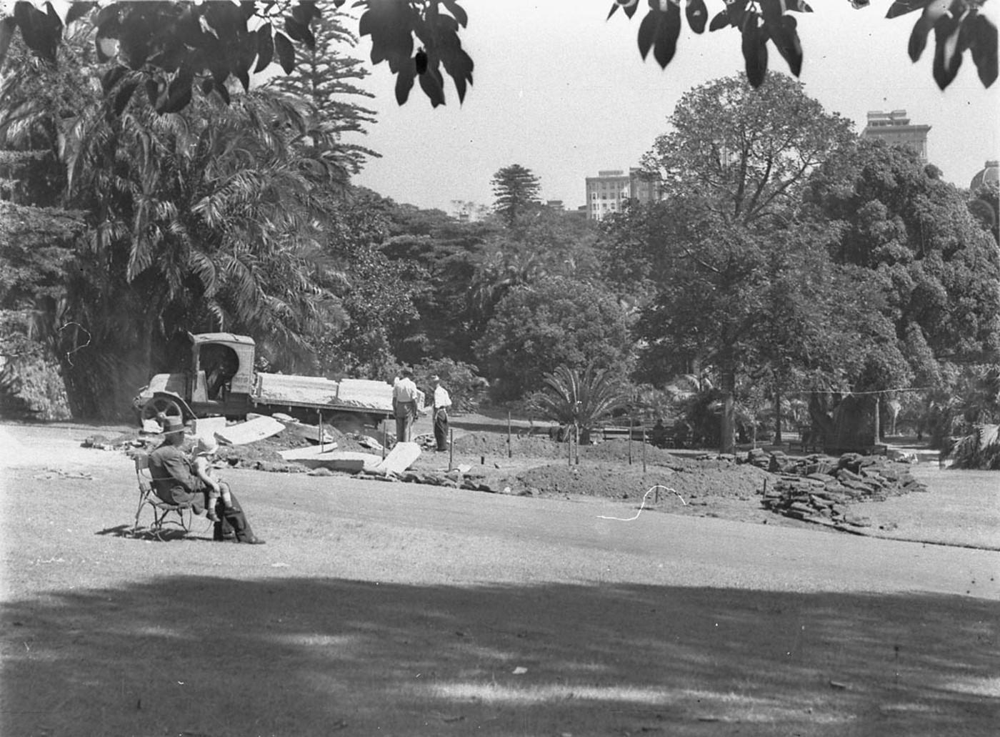 Workmen forming new garden beds, c. 1932