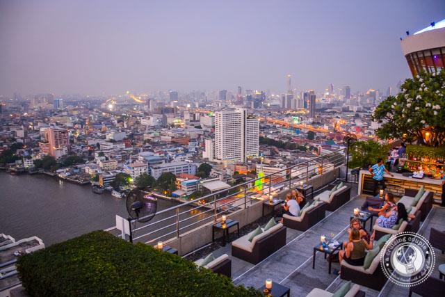 Rooftop bar at sunset in Bangkok Thailand