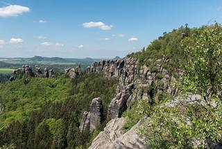 Aussicht vom Felsplateau am Schrammsteinweg