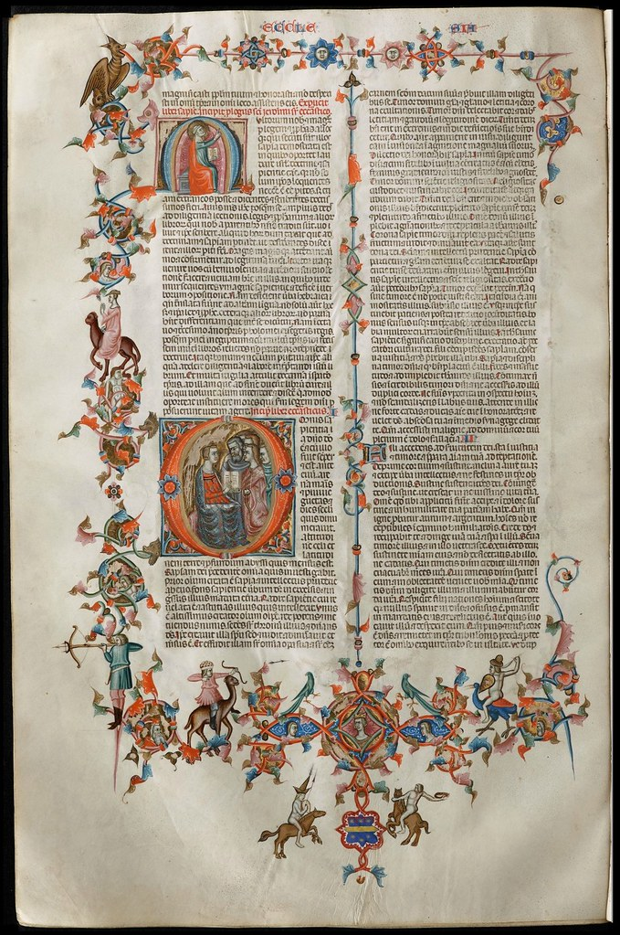 detailed manuscript decoration - 14th century Italian bible