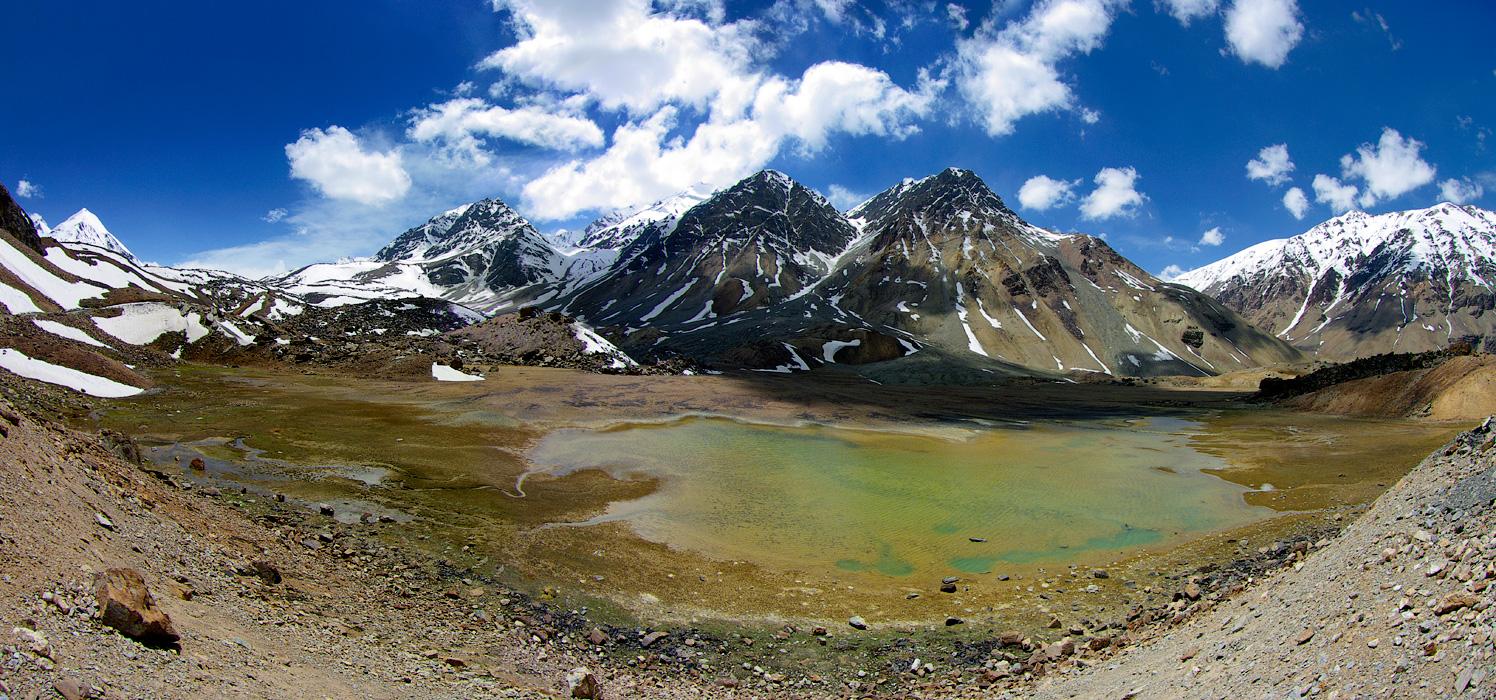 Горное озеро, Дорога Манали - Лех. Ладакх, Индия. Панорамы Гималаев