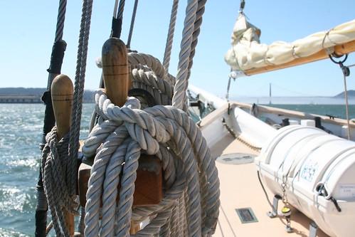 Ropes on a Schooner Boat