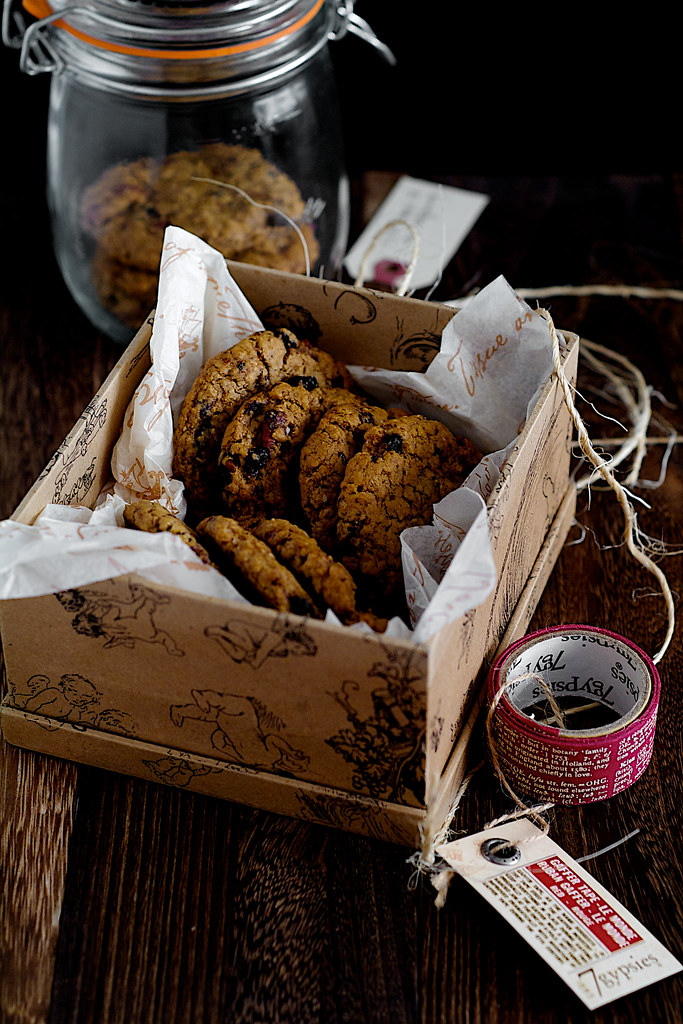 Christmas Blueberry Pecan Oatmeal Coconut Cookies