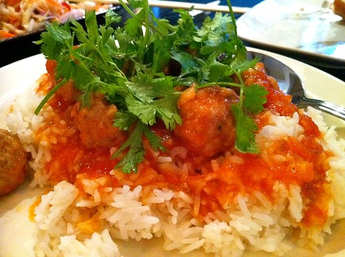 Pork meatballs and mushroom on rice £5.5