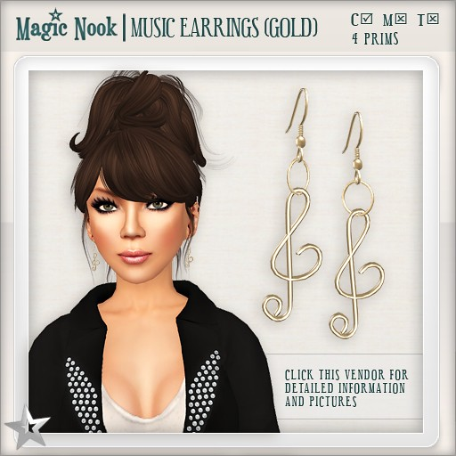 [MAGIC NOOK] Music Earrings (Gold)