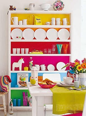 rainbow+colored+shelves+-+dining+room+-+funky+colors+-+colorful+-+design+and+decor+-+interiors+via+pinterest