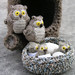 Crochet owls family with their hollow by Lalinda.pl