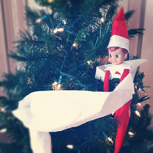 "Buddy ""trimmed"" our mini tree. #elfontheshelf"