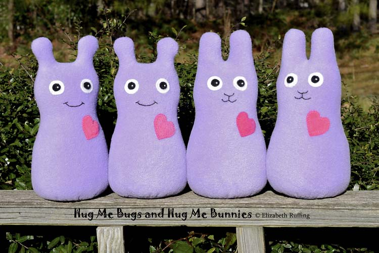 Fleece Hug Me Bug and Hug Me Bunny Art Toys by Elizabeth Ruffing, lavender
