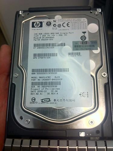 HP 146GB 15K rpm SAS fail #1