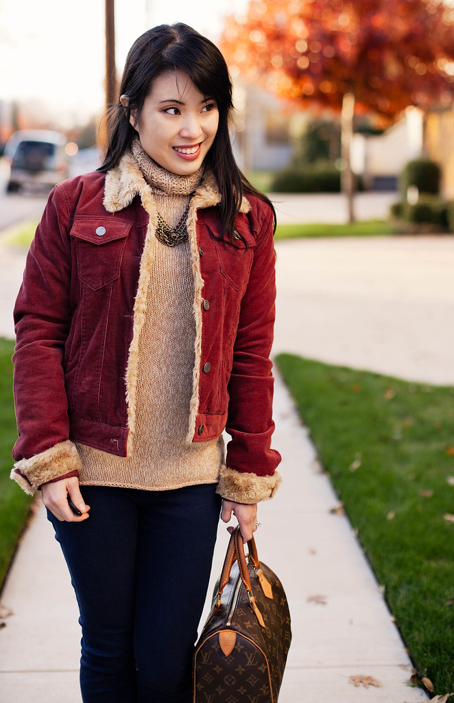 red shearling corduroy jacket, gap knit turtleneck sweater, urban outfitters bdg grazer indigo cigarette jeans, bakers wild pair karen tan suede pumps