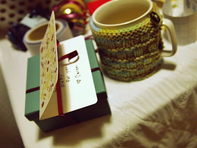Christmas wrapping & a cup of tea.