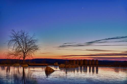 trees winter sunset sky ice water night reflections star evening pond rocks jupiter hdr epicsystemscorporation canonefs1585mmf3556isusm