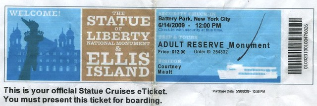 Statue of Liberty e-ticket