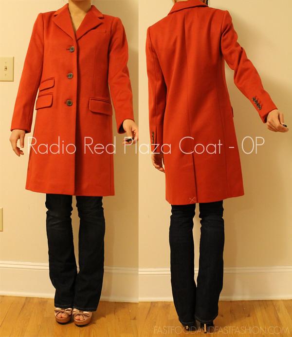 J Crew Radio Red Plaza Coat 0P