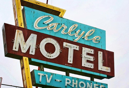 Carlyle Motel Neon sign, Route 66 Oklahoma, USA. Copyright Jen Baker/Liberty Images; all rights reserved.