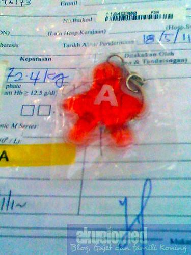 """Keychain untuk penderma darah jenis """"A"""""""