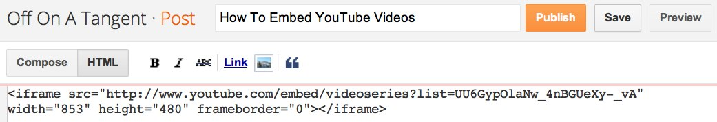 YouTube Playlist HTML Embed Code