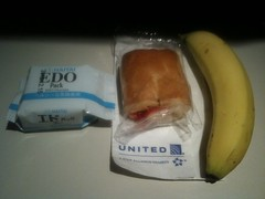 Airline Snack: tasteless danish, tasteless saltines, tasteless banana