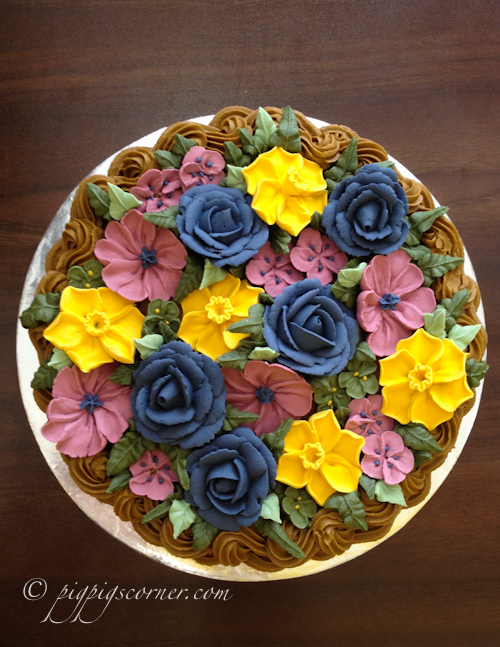 Wilton Method of Cake Decorating Course 2 basketweave flower cake