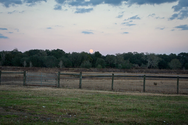 sunset, moonrise